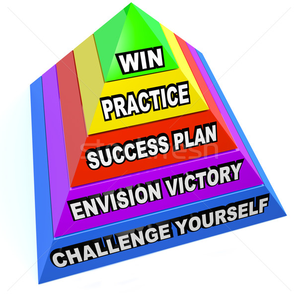 Win Steps Pyramid Success Plan Practice Challenge Stock photo © iqoncept