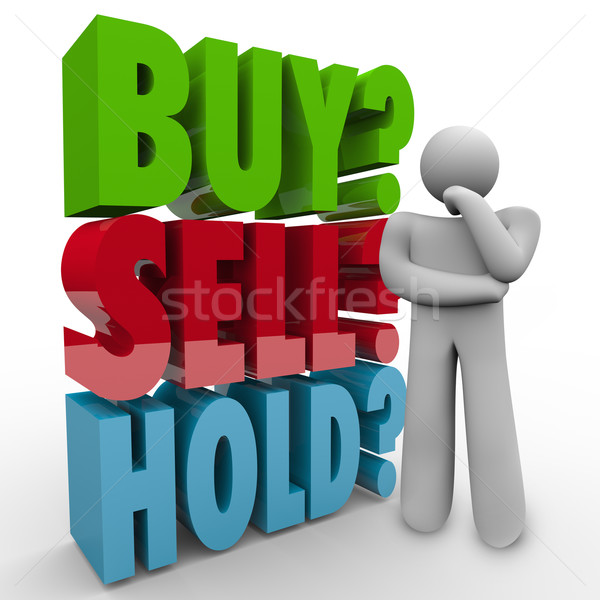 Buy Sell Hold 3D Words Investor Stock Market Stock photo © iqoncept