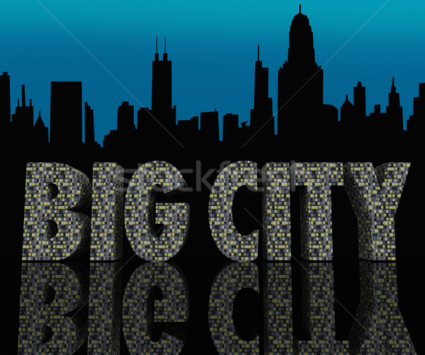 Big City Skyline Cityscape Skyscrapers Urban Night Life Stock photo © iqoncept