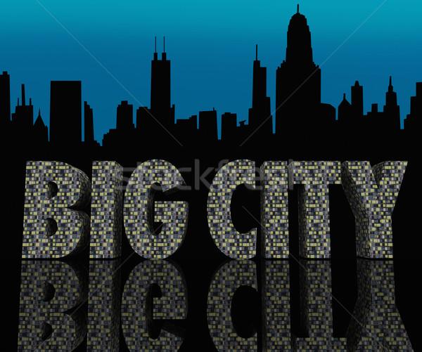 Grand cityscape gratte-ciel urbaine vie nocturne Photo stock © iqoncept