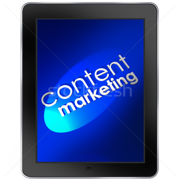 Content Marketing Words Tablet Computer Mobile Digital Communica Stock photo © iqoncept