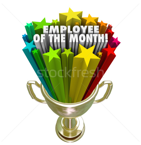 Employee of the Month Gold Trophy Award Top Performer Recognitio Stock photo © iqoncept