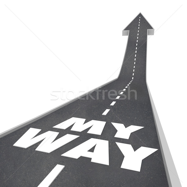 My Way Words 3D Road Arrow Upward Unique Different Individual Stock photo © iqoncept