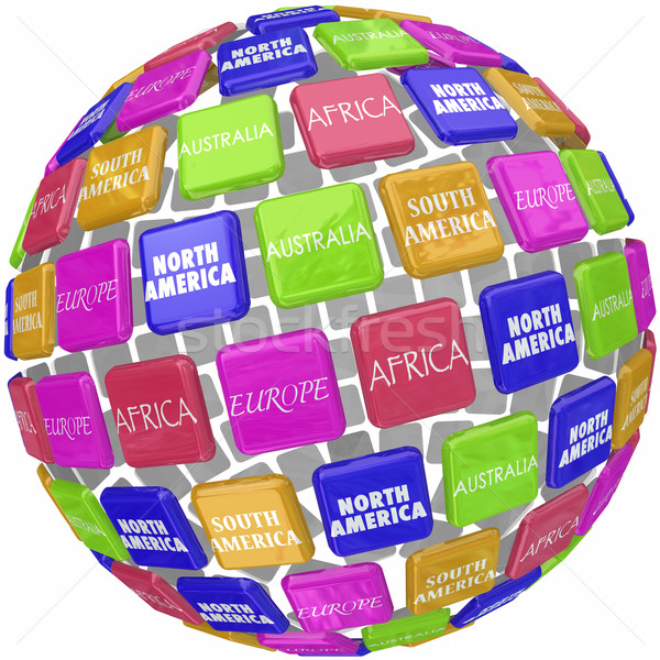 World Continent Names on 3d Globe Tiles Travel Around Earth Stock photo © iqoncept