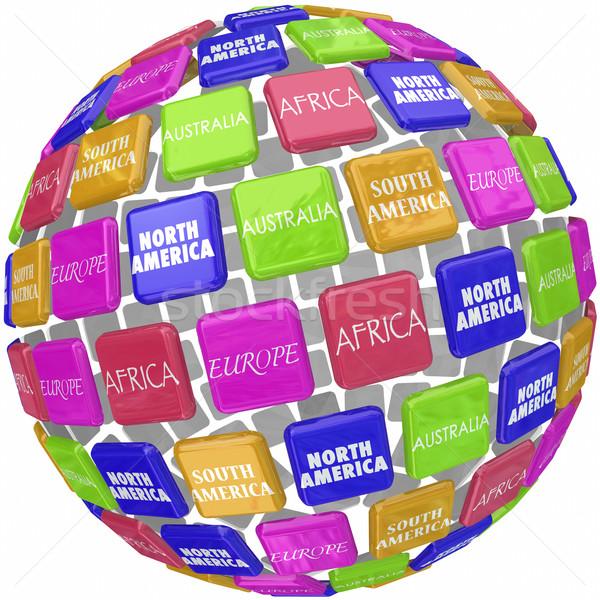 Wereld continent 3D wereldbol tegels reizen Stockfoto © iqoncept