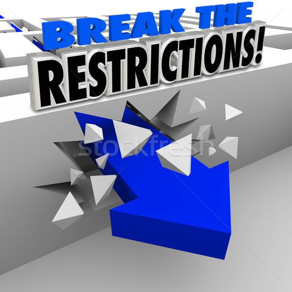 Break the Restrictions Arrow Crashing Maze Walls Stock photo © iqoncept