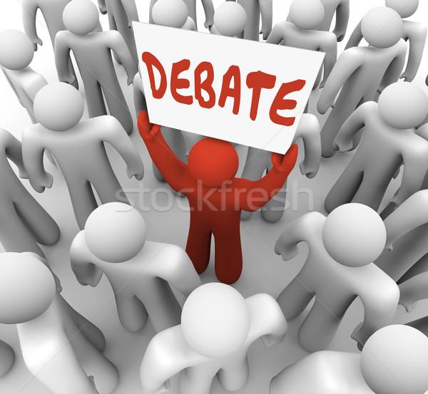 Debata słowo człowiek osoby podpisania Zdjęcia stock © iqoncept