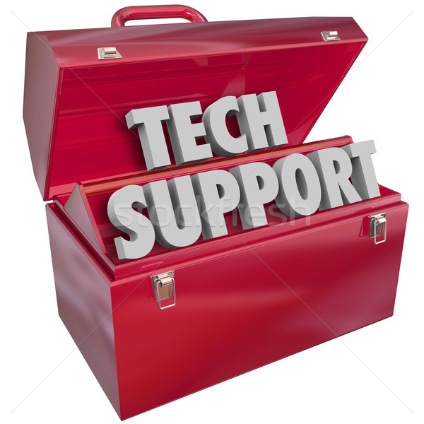 Stock photo: Tech Support Words Toolbox Computer Information Technology Help