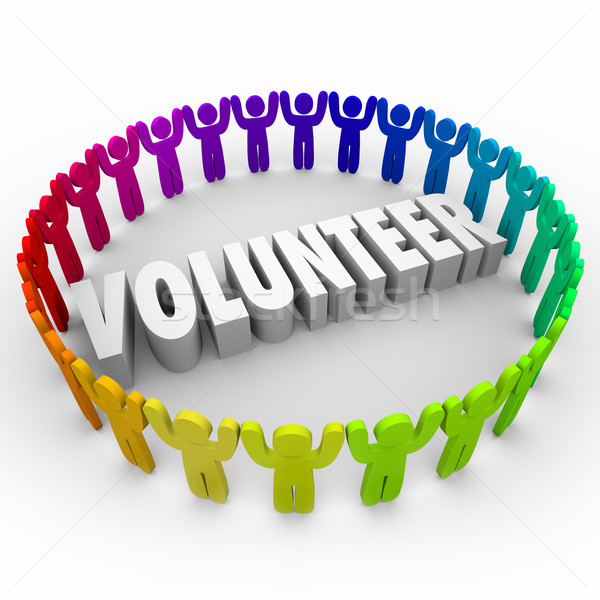 Volunteer People in Ring Around 3d Word Donate Time Stock photo © iqoncept