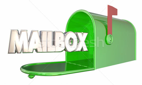 Mailbox Green Metal Message Word 3d Illustration Stock photo © iqoncept