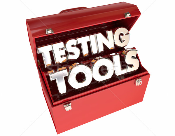 Testing Tools 3d Words Toolbox Evaluation Analysis Stock photo © iqoncept
