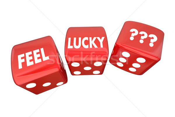 Feel Lucky Two Red Dice Roll Take Chance Challenge 3d Illustrati Stock photo © iqoncept
