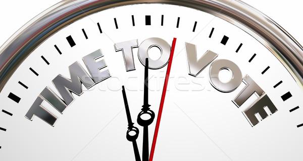Zaman oy seçim saat sözler 3d illustration Stok fotoğraf © iqoncept