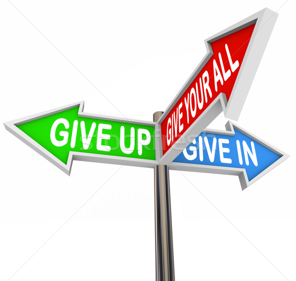 Give Up or In or Your Best Shot - 3 Colorful Arrow Signs Stock photo © iqoncept