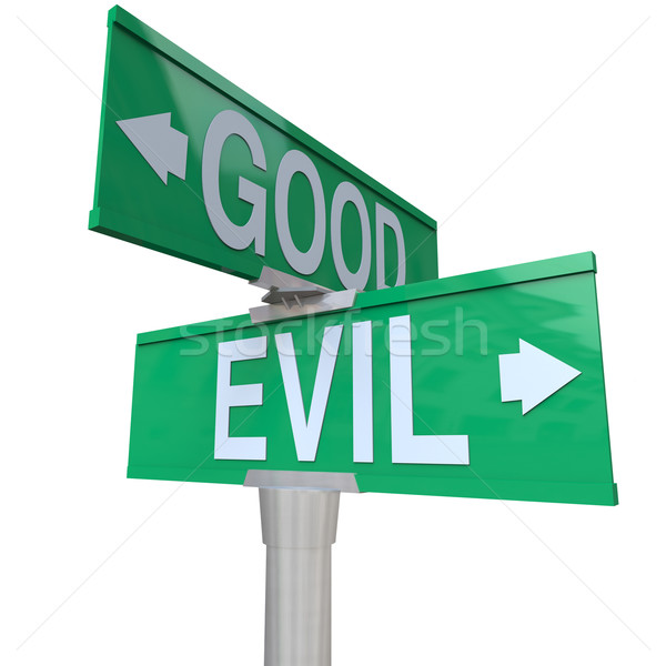 Good Vs Evil - Two-Way Street Sign Stock photo © iqoncept