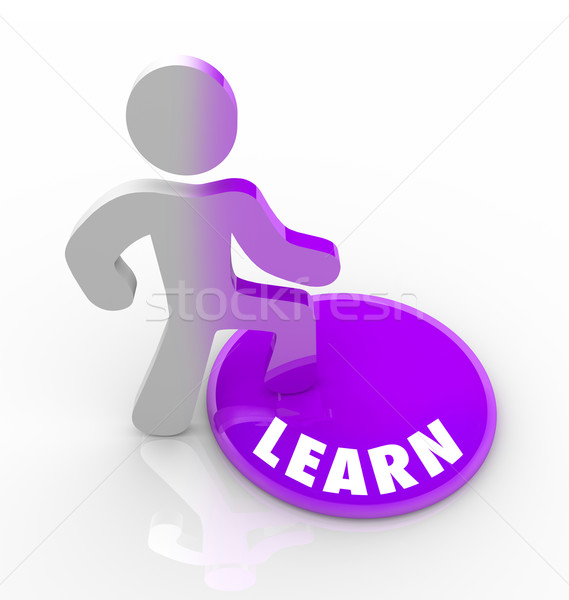 Learn - Person Steps Onto Button and Fills with Knowledge Stock photo © iqoncept