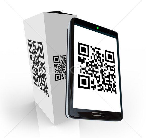 Smart Phone Scanning QR Code on Product Box for Info Stock photo © iqoncept