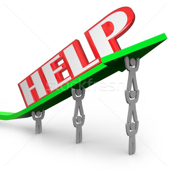 Stock fotó: Segítség · szó · nyíl · csapatmunka · emel · együtt