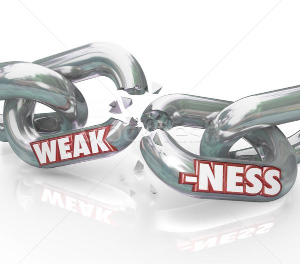 Zayıflık kelime zayıf zincir linkler Stok fotoğraf © iqoncept