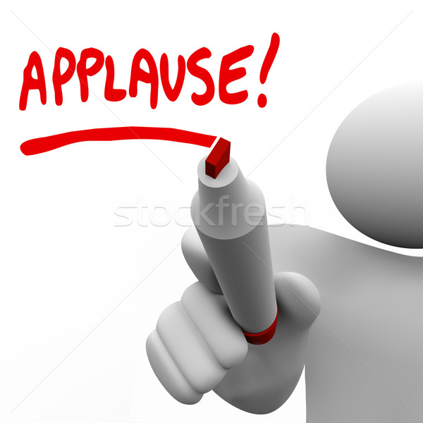 Applause Word Written by Man Marker Appreciation Stock photo © iqoncept