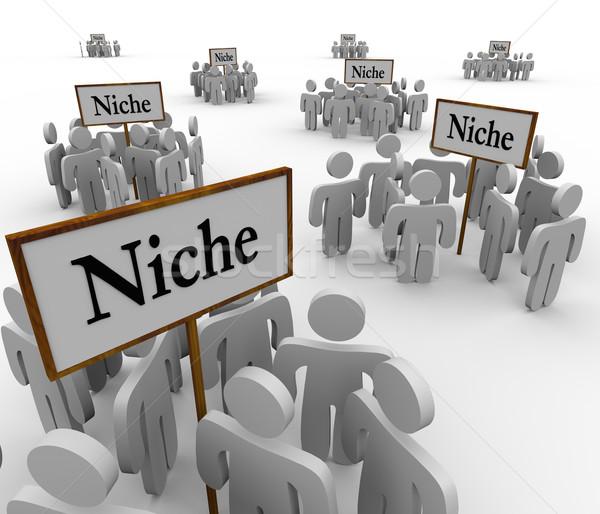 Beaucoup niche groupes personnes autour signes Photo stock © iqoncept