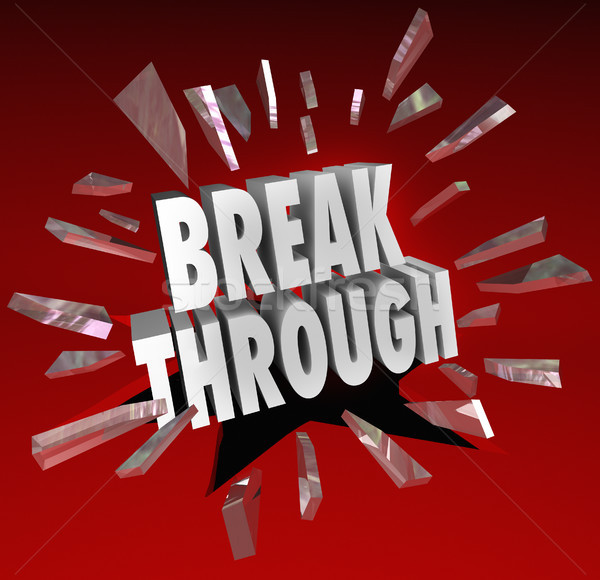 Breakthrough Break Through Word Glass Breaking Stock photo © iqoncept