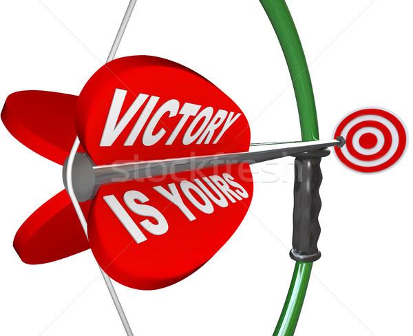 Overwinning boeg pijl woorden veren winnend Stockfoto © iqoncept