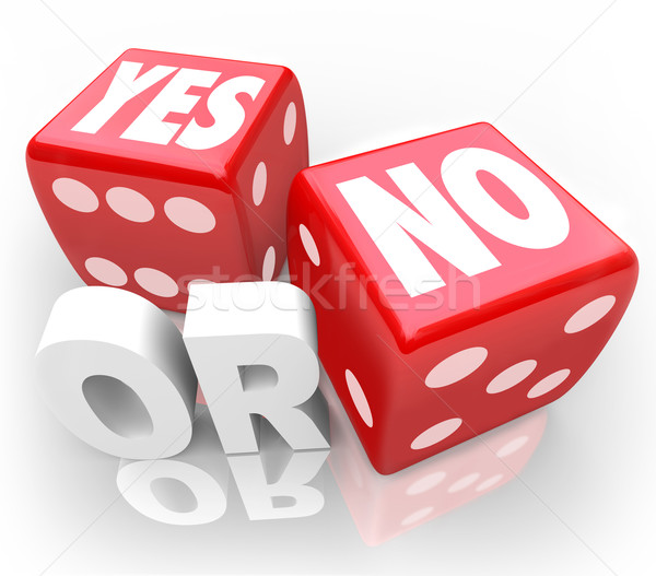 Yes or No Two Dice Rolling to Decide Accept or Reject Stock photo © iqoncept