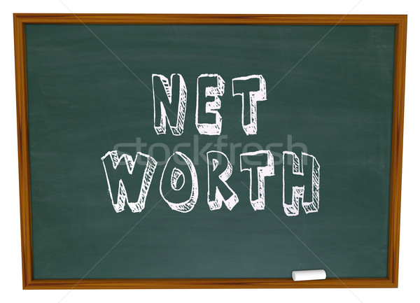 Net Worth Chalkboard Total Wealth Value Learn Financial Educatio Stock photo © iqoncept