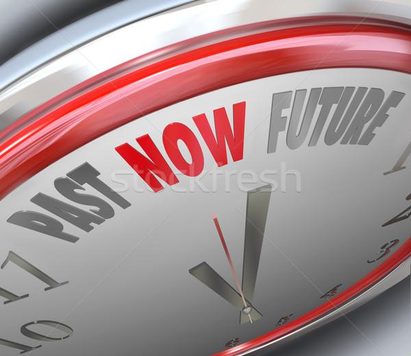 Past Now Present Future Time Clock Forecast Today Tomorrow Stock photo © iqoncept