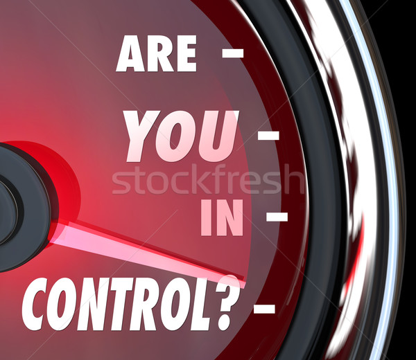 Are You In Control Words Speedometer Leader Organization Stock photo © iqoncept