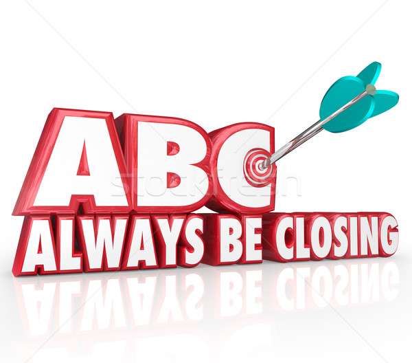 ABC Always Be Closing Target 3d Words Aiming Arrow Bulls-Eye Stock photo © iqoncept