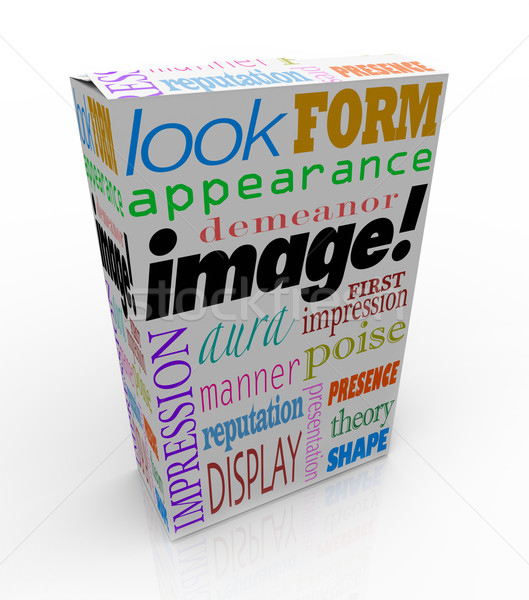 Image Word Product Box Package First Impression Appearance Stock photo © iqoncept