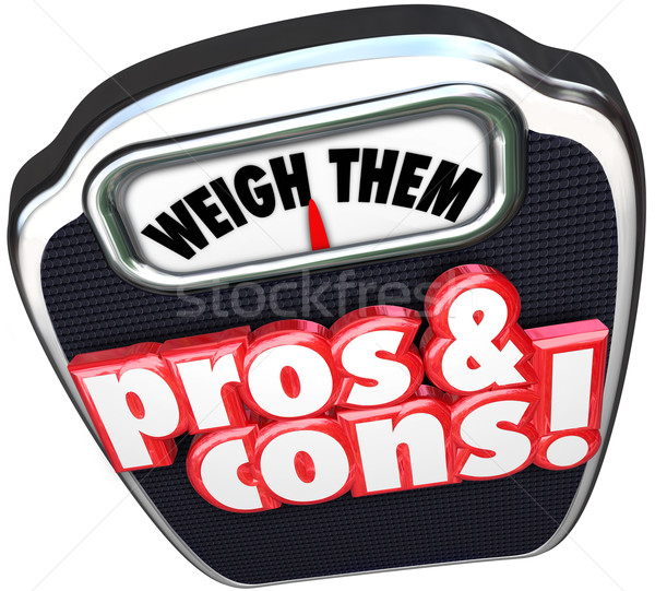 Pros Cons Weigh Benefits Risks Positives Vs Negatives Words on S Stock photo © iqoncept