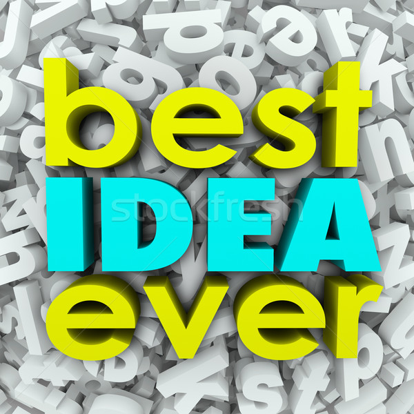 Best Idea Ever 3d Words Brainstorm Creativity Great Plan Stock photo © iqoncept