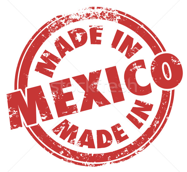 Made in Mexico Words Round Red Stamp National Pride Stock photo © iqoncept