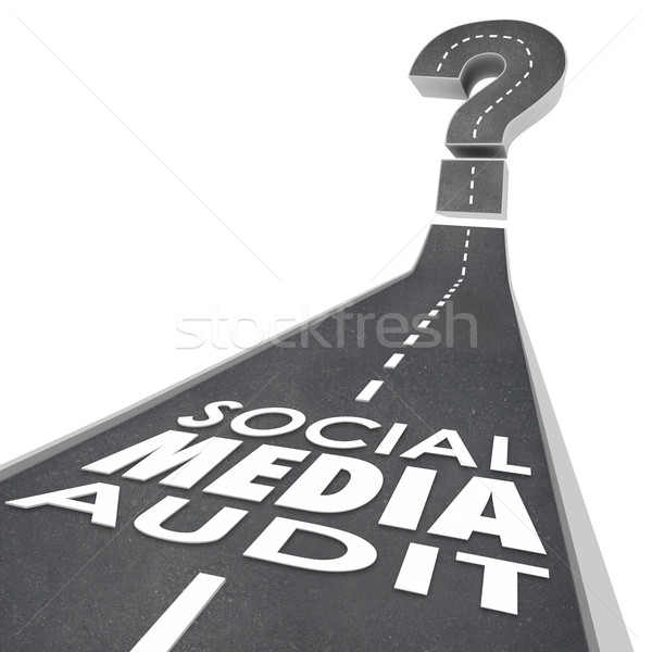 Social Media Audit Words Road Monitor Measure Campaign Effective Stock photo © iqoncept