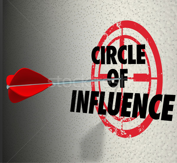 Circle of Influence Target Words Spreading Message Contacts Frie Stock photo © iqoncept