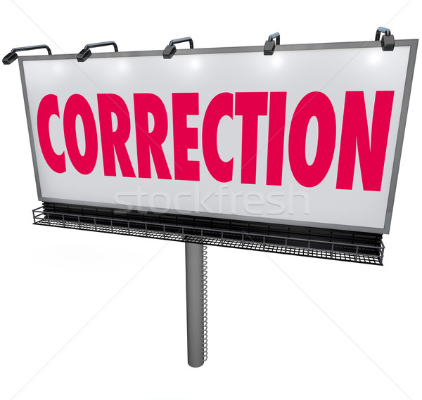 Correction Word Billboard Revising Updating Mistake Error Stock photo © iqoncept