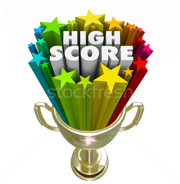 High Score Winner Trophy New Record Highest Rating Tally Points Stock photo © iqoncept