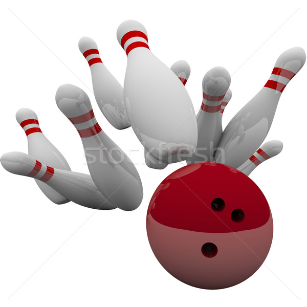 Red Bowling Ball Striking Pins Winning Success Game Stock photo © iqoncept