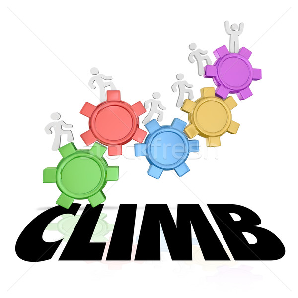 Climb People Rising Up Increase Higher Success Word Stock photo © iqoncept