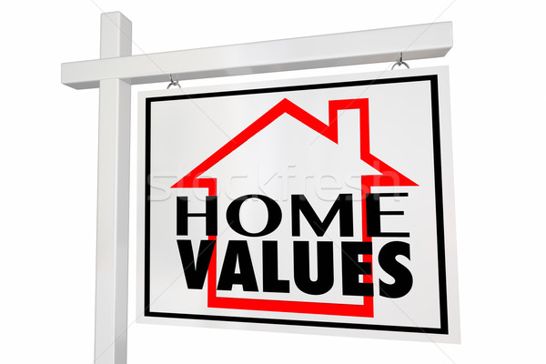 Home Values House for Sale Real Estate Sign Trends Asset Valuati Stock photo © iqoncept