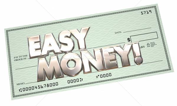 Easy Money Free Cash Check Income 3d Words Stock photo © iqoncept
