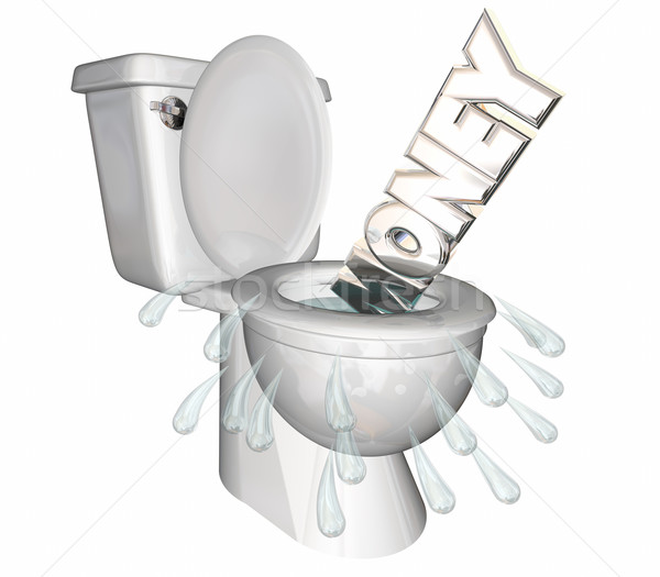 Money Wasted Word Flushed Down Toilet 3d Illustration.jpg Stock photo © iqoncept