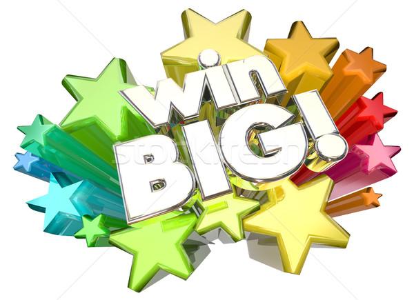 Win Big Success Huge Results Stars 3d Illustration Stock photo © iqoncept