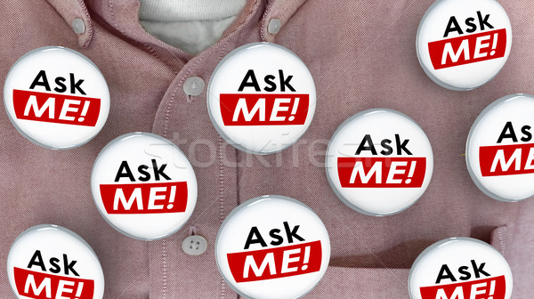 Ask Me Question Customer Support Answers Buttons Pins 3d Illustr Stock photo © iqoncept