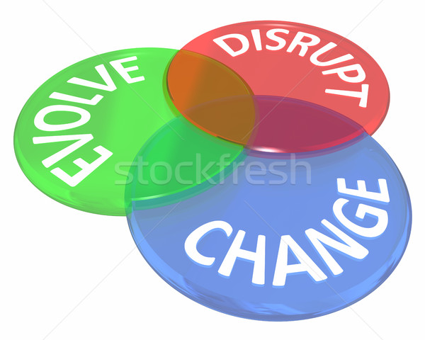 Change Evolve Disrupt Innovate New Idea Venn Circles 3d Illustra Stock photo © iqoncept