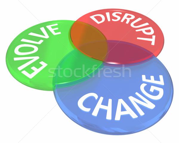 Stock photo: Change Evolve Disrupt Innovate New Idea Venn Circles 3d Illustra