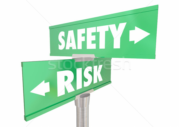 Safety Vs Risk Security Protection Reduce Danger Signs 3d Illust Stock photo © iqoncept